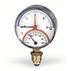Термоманометр WATTS F+R828 (80 мм, 0-4 бар, 0-120 °С)