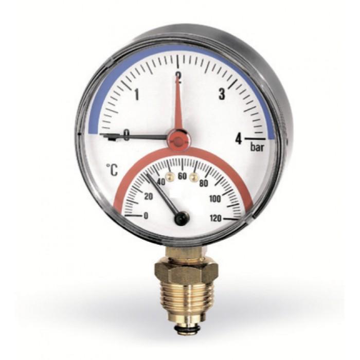 Термоманометр WATTS F+R828 (80 мм, 0-6 бар, 0-120 °С)