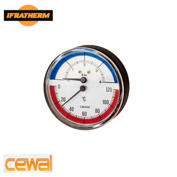 Термоманометр Cewal TRP 80 VI (0-6Bar 0-120°C), аксіальний