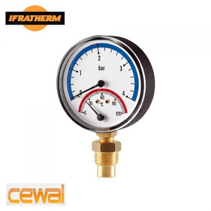 Термоманометр Cewal TRR 80 VI (0-6Bar 0-120°C), радіальний