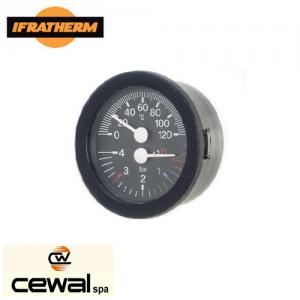 Термоманометр з виносними датчиками Cewal TI 52 P (52 мм, 0/120°C, 0-4 бар, 1500мм)