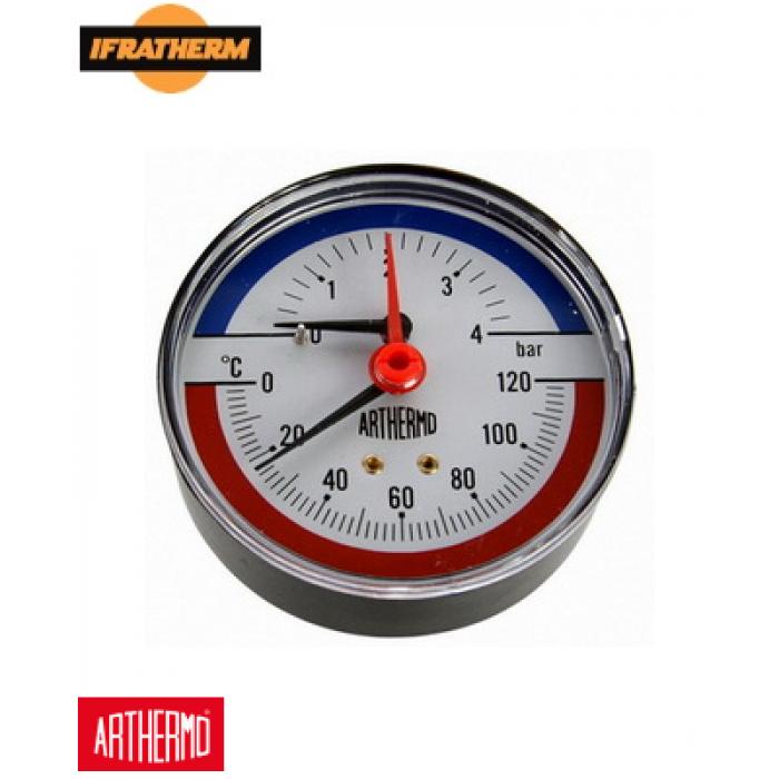 Термоманометр Arthermo TI003 (0-4Bar 0-120°C), аксіальний