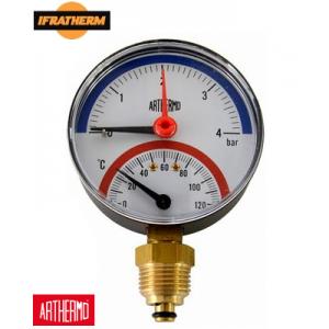 Термоманометр Arthermo TI110 (0-4Bar 0-120°C), радіальний